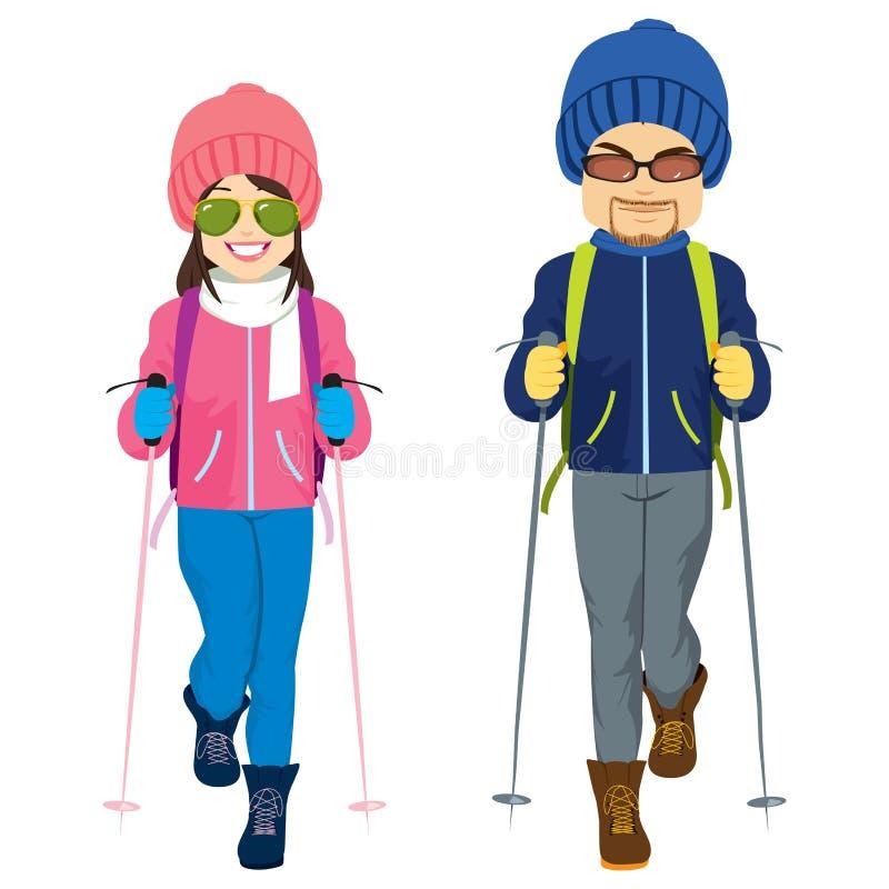 Χειμερινά ενδύματα σκι ζεύγους ελεύθερη απεικόνιση δικαιώματος