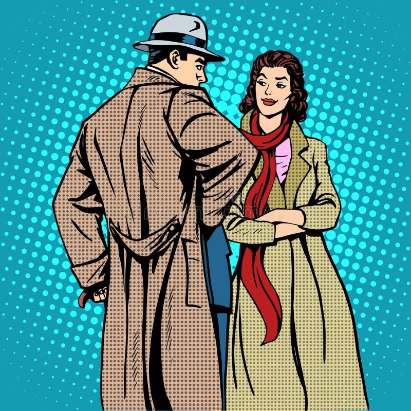 Χειμερινά ενδύματα φθινοπώρου ανδρών και γυναικών ζεύγους απεικόνιση αποθεμάτων