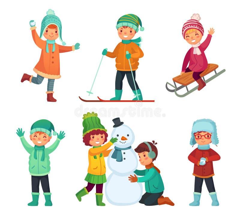 Χειμερινά παιδιά κινούμενων σχεδίων Τα παιδιά παίζουν στις χειμερινές διακοπές, που και που κάνουν ο χιονάνθρωπος Διανυσματικό σύ απεικόνιση αποθεμάτων