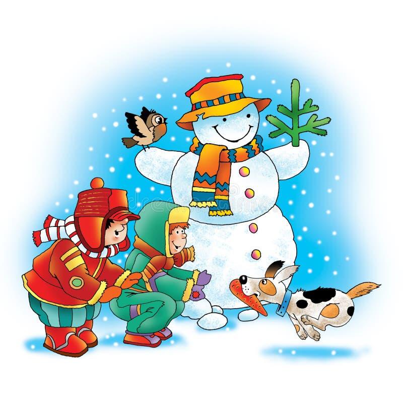 Χειμερινά παιδιά σκυλιών καρότων χιονανθρώπων ελεύθερη απεικόνιση δικαιώματος