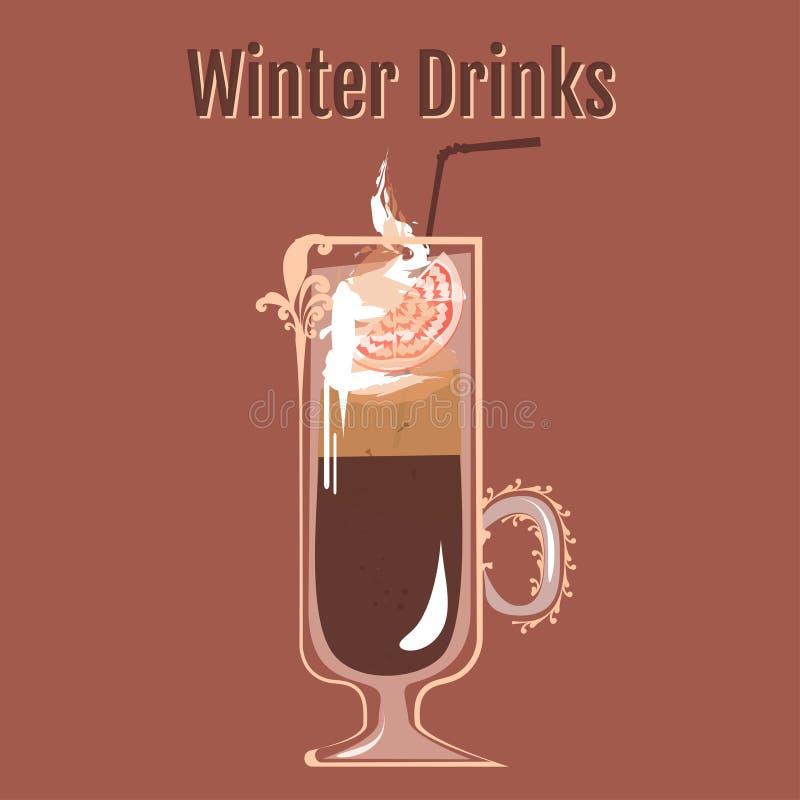 Χειμερινά ποτά | Διάτρηση καφέ απεικόνιση αποθεμάτων
