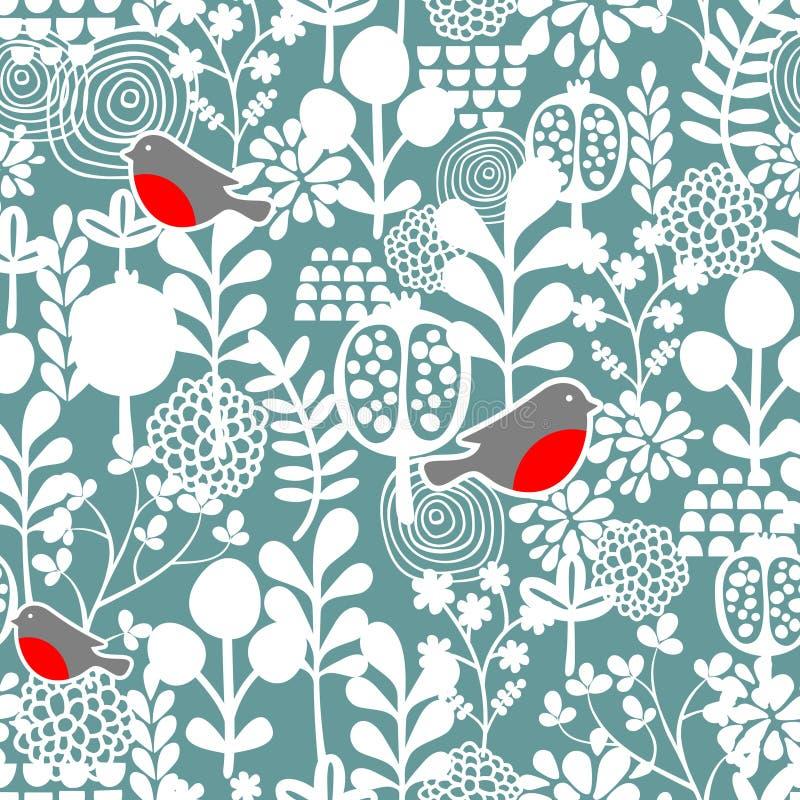 Χειμερινά πουλιά και παγωμένο άνευ ραφής σχέδιο λουλουδιών. απεικόνιση αποθεμάτων
