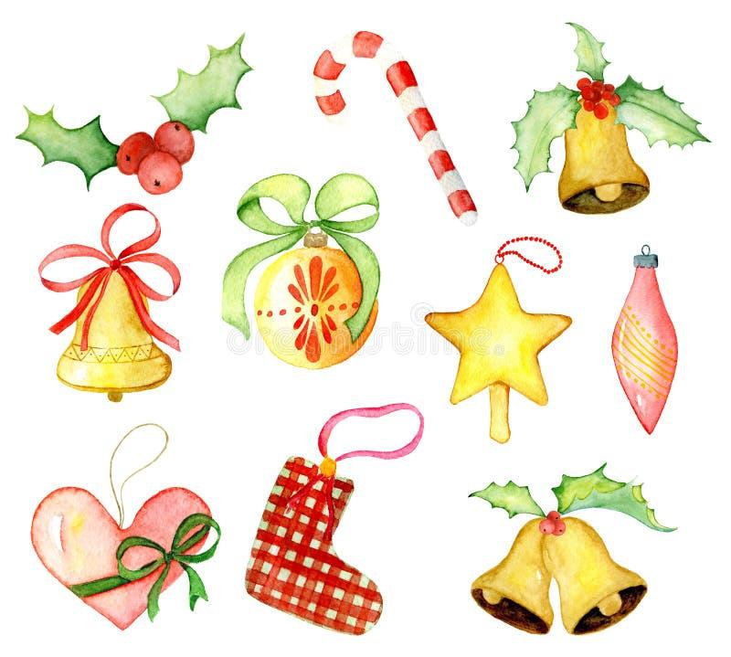 Χειμερινά στοιχεία ντεκόρ watercolor Χαρούμενα Χριστούγεννας Κάρτα καλής χρονιάς, αφίσες Δώρα και παιχνίδια διανυσματική απεικόνιση