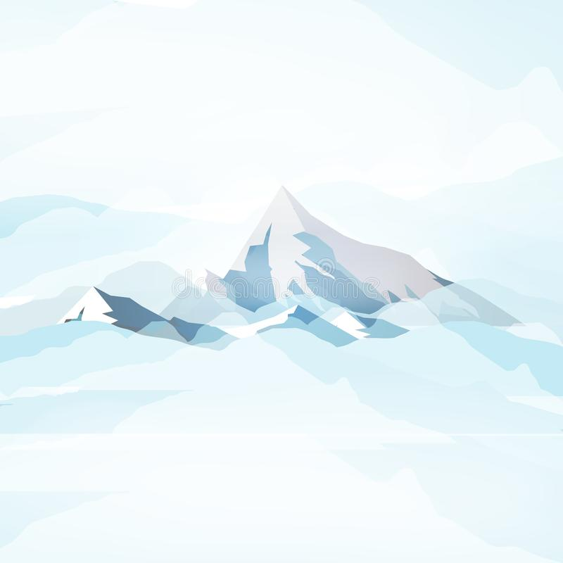 Χειμερινά υψηλά βουνά στα σύννεφα - διανυσματική απεικόνιση ελεύθερη απεικόνιση δικαιώματος