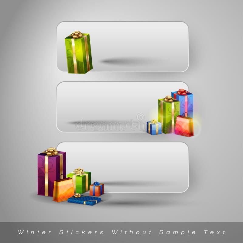 Download Χειμερινές αυτοκόλλητες ετικέττες με τα δώρα Διανυσματική απεικόνιση - εικονογραφία από έννοια, εποχή: 62724261