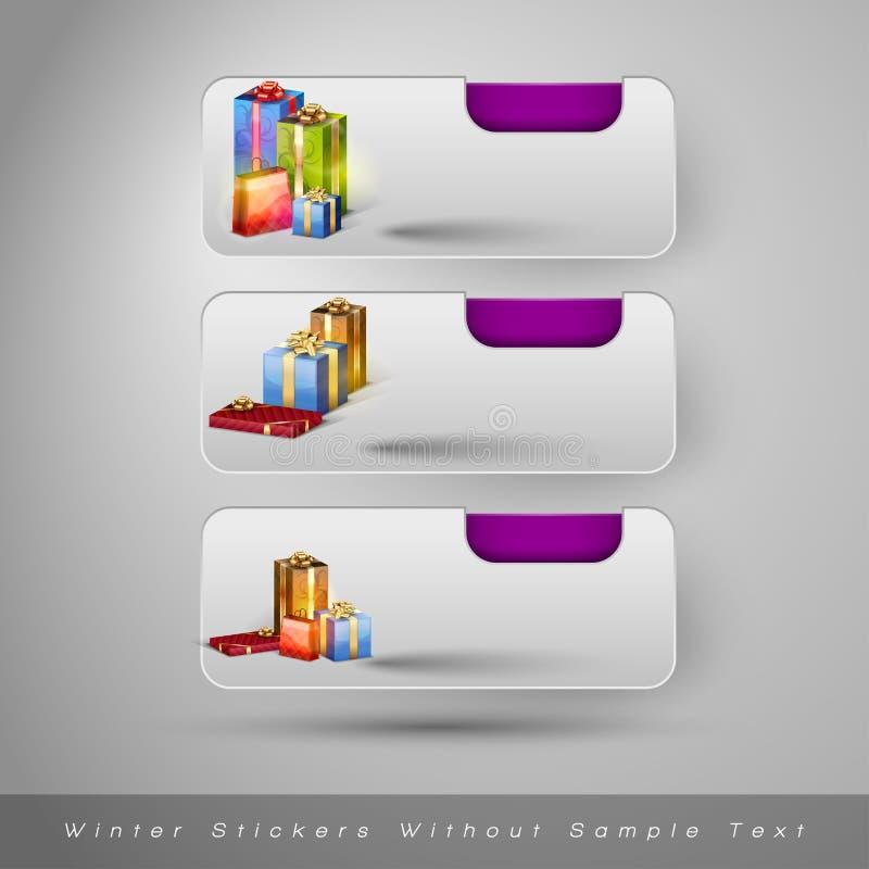 Download Χειμερινές αυτοκόλλητες ετικέττες με τα δώρα Διανυσματική απεικόνιση - εικονογραφία από δώρο, στοιχείο: 62724275