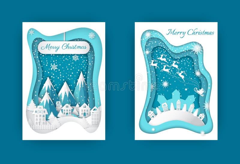 Χειμερινές διακοπές περικοπών εγγράφου Χαρούμενα Χριστούγεννας καθορισμένες διανυσματική απεικόνιση