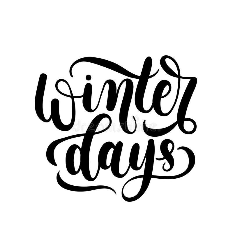 Χειμερινές ημέρες που γράφουν την κάρτα Χέρι που σύρεται εμπνευσμένος χειμώνας quot απεικόνιση αποθεμάτων