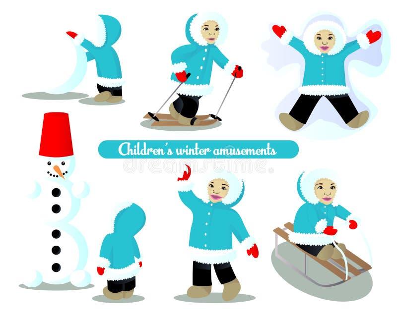 Χειμερινές διασκεδάσεις παιδιών διανυσματική απεικόνιση