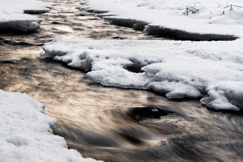 Χειμερινή άποψη ποταμών με το φως βραδιού, τη μετακίνηση νερού και το χιόνι στοκ εικόνες με δικαίωμα ελεύθερης χρήσης