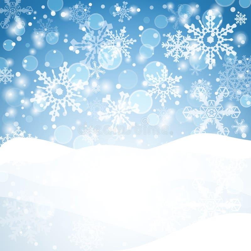 Χειμερινή ανασκόπηση με το χιόνι Έμβλημα χιονιού Χριστουγέννων απεικόνιση αποθεμάτων