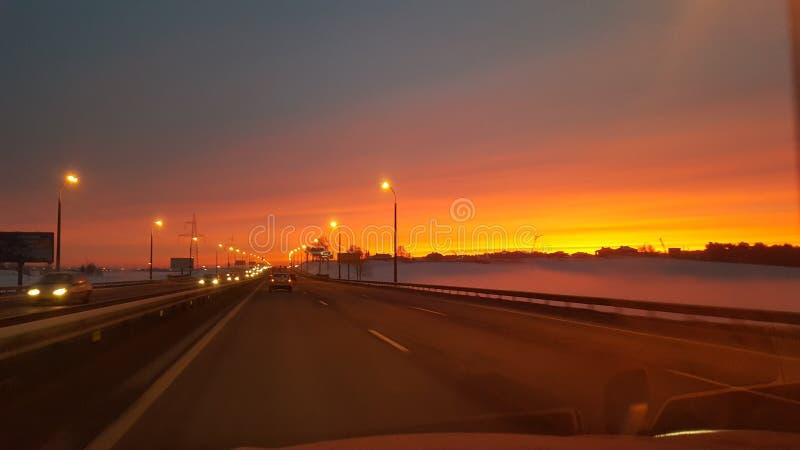 Χειμερινή ανατολή στο Μινσκ στοκ εικόνες