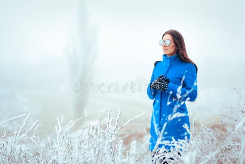 Χειμερινή γυναίκα μόδας με τα γυαλιά ηλίου καθρεφτών και το μπλε παλτό στοκ φωτογραφίες με δικαίωμα ελεύθερης χρήσης