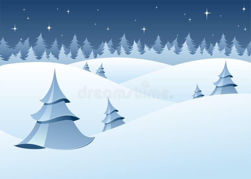 χειμερινή δασώδης περιοχή τοπίου ελεύθερη απεικόνιση δικαιώματος