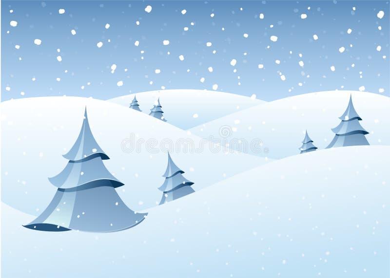 χειμερινή δασώδης περιοχή τοπίου διανυσματική απεικόνιση