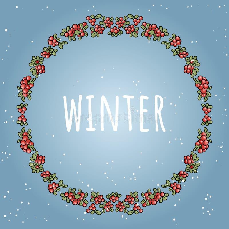 Χειμερινή εγγραφή σε ένα στεφάνι της κόκκινης ζωηρόχρωμης διακόσμησης μούρων Για το κοινωνικό εορταστικό σχέδιο διχτυών, κάρτες,  διανυσματική απεικόνιση