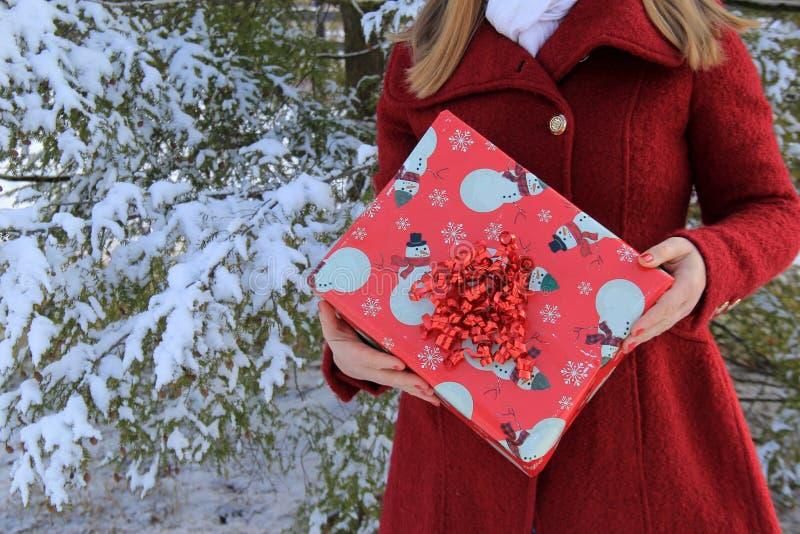 Χειμερινή εικόνα της νέας γυναίκας που φορά το κόκκινο παλτό και που κρατά το τυλιγμένο παρόν στοκ φωτογραφίες με δικαίωμα ελεύθερης χρήσης