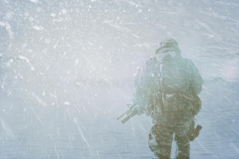 Χειμερινή θύελλα στρατιωτών ιππικού στοκ εικόνα