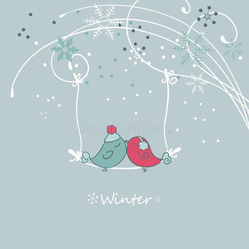 Χειμερινή κάρτα με τα πουλιά ελεύθερη απεικόνιση δικαιώματος