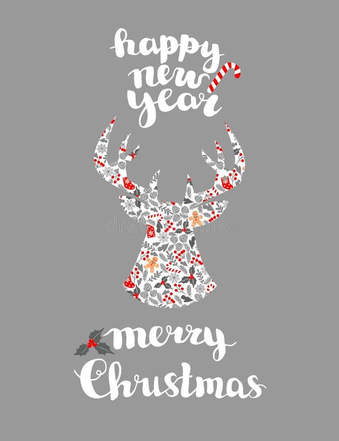 Χειμερινή κάρτα Χριστουγέννων, και στοιχεία σχεδίου Τελειοποιήστε για τα Χριστούγεννα και τους νέους χαιρετισμούς έτους, πρόσκλησ διανυσματική απεικόνιση