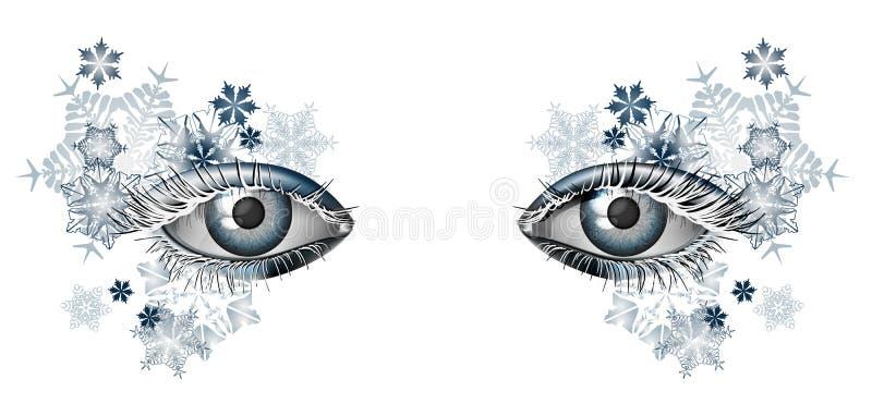 Χειμερινή μεταμφίεση makeup για τα Χριστούγεννα και το νέο έτος απεικόνιση αποθεμάτων