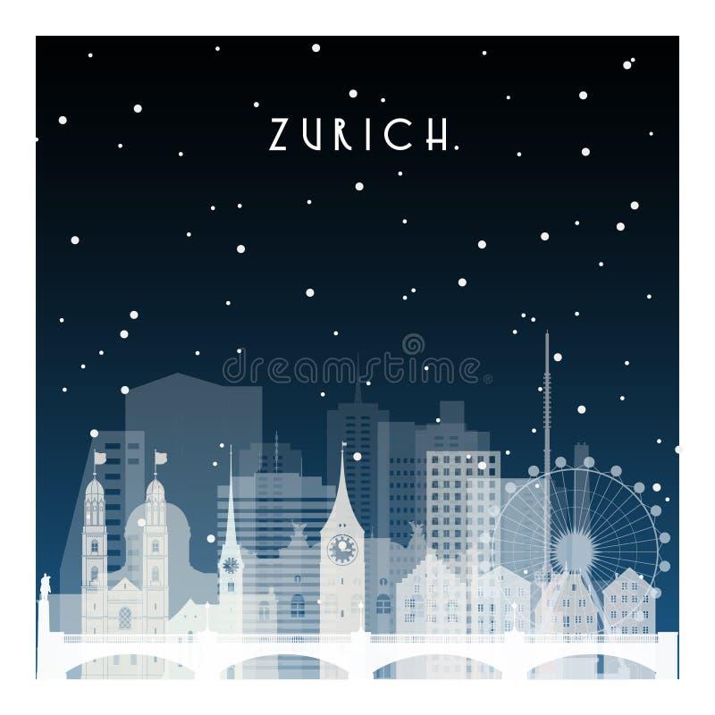 Χειμερινή νύχτα στη Ζυρίχη ελεύθερη απεικόνιση δικαιώματος