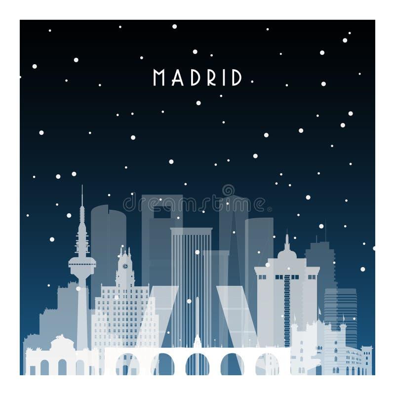 Χειμερινή νύχτα στη Μαδρίτη απεικόνιση αποθεμάτων