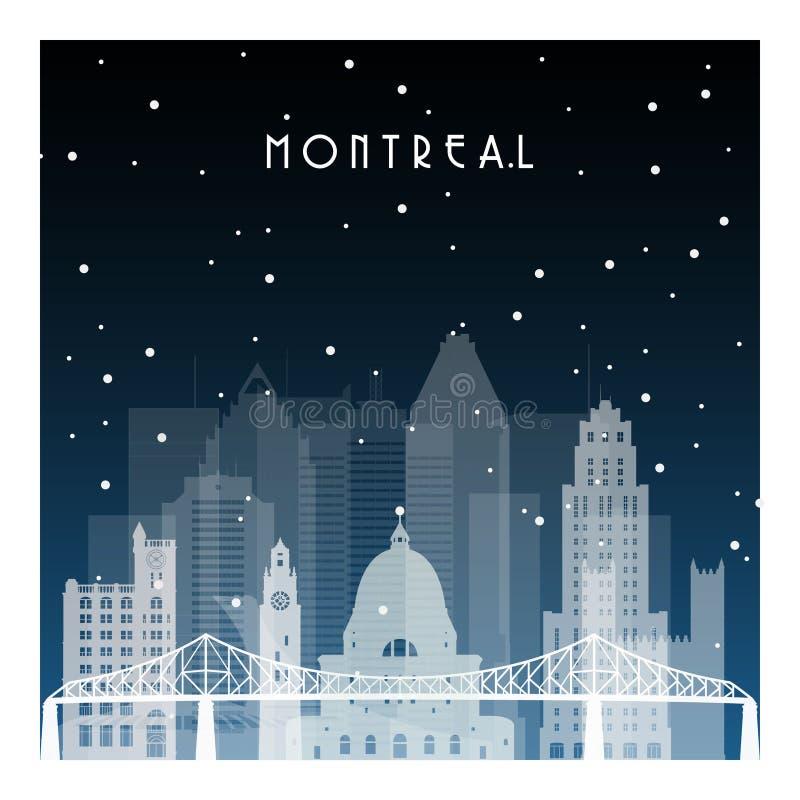 Χειμερινή νύχτα στο Μόντρεαλ διανυσματική απεικόνιση