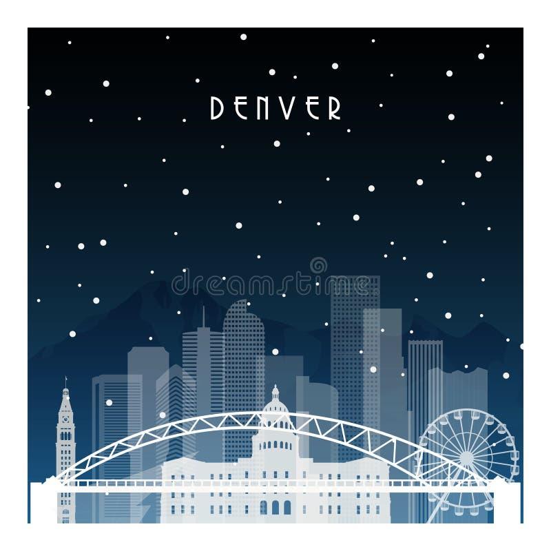 Χειμερινή νύχτα στο Ντένβερ διανυσματική απεικόνιση