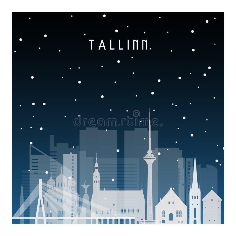 Χειμερινή νύχτα στο Ταλίν ελεύθερη απεικόνιση δικαιώματος