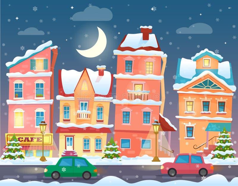 Χειμερινή πόλη κινούμενων σχεδίων Χριστουγέννων στη νύχτα διανυσματικό λευκό δέντρων llustration ανασκόπησης απομονωμένο κινούμεν διανυσματική απεικόνιση