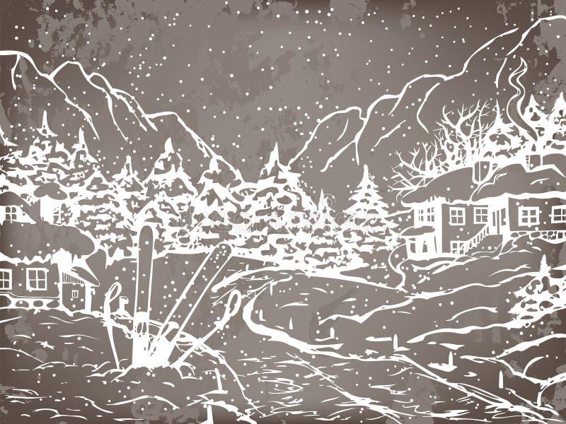 Χειμερινή πόλη ελεύθερη απεικόνιση δικαιώματος