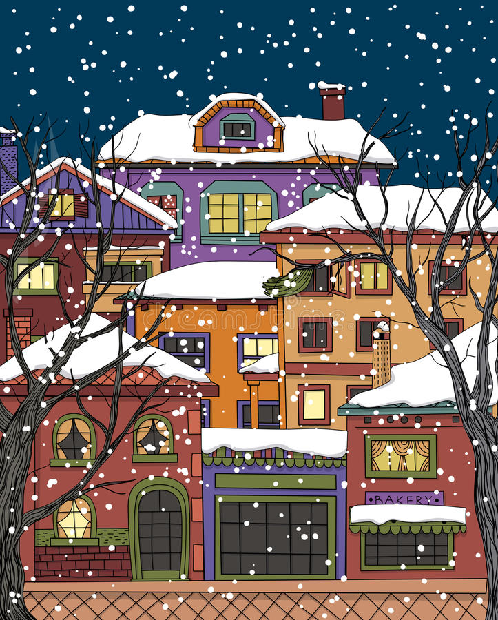 Χειμερινή πόλη διανυσματική απεικόνιση