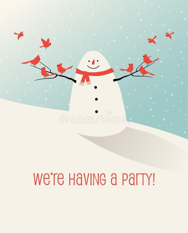 Χειμερινή σκηνή διακοπών με τους φίλους χιονανθρώπων και πουλιών διανυσματική απεικόνιση