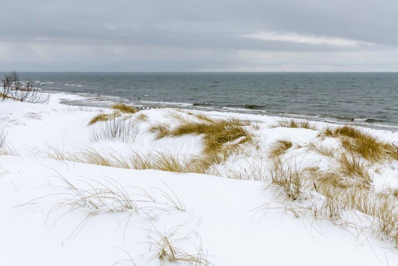 Χειμερινή σκηνή - η θάλασσα της Βαλτικής στο wintertime κοντά σε Palanga στοκ φωτογραφίες με δικαίωμα ελεύθερης χρήσης