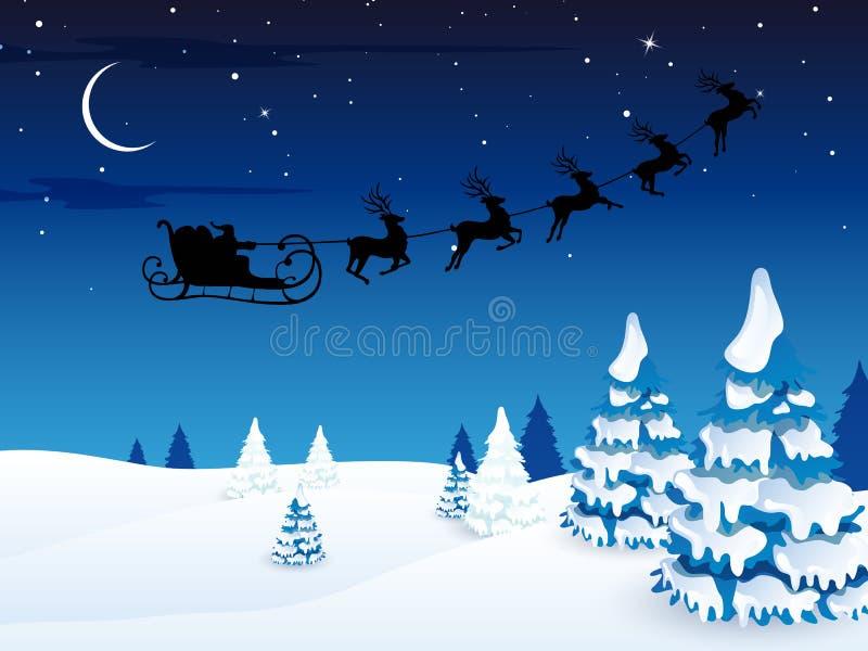 Χειμερινή σκηνή - κάρτα Χριστουγέννων διανυσματική απεικόνιση