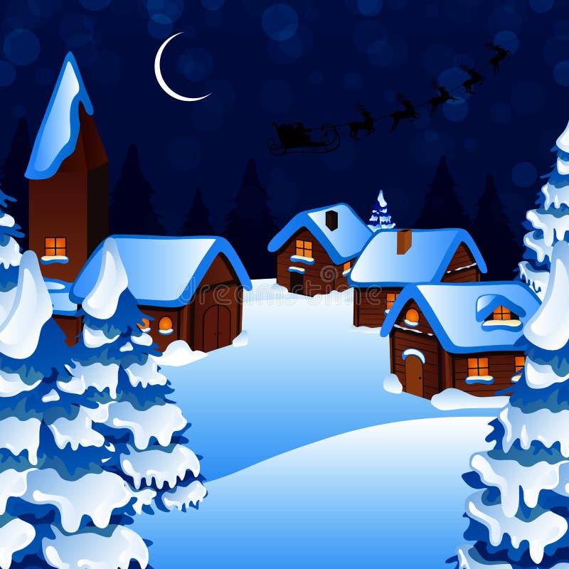 Χειμερινή σκηνή - κάρτα Χριστουγέννων ελεύθερη απεικόνιση δικαιώματος