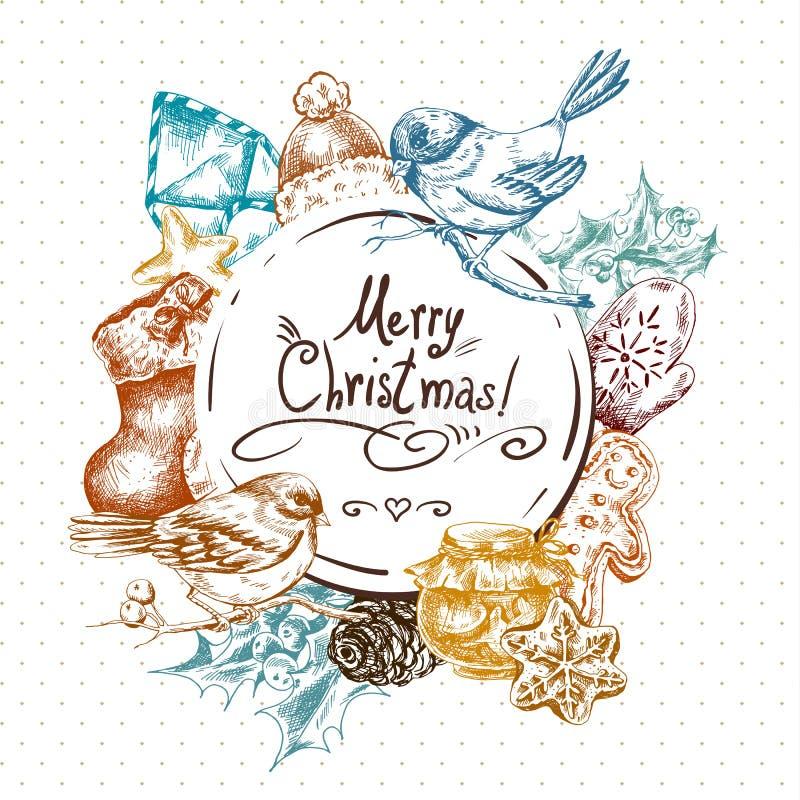 Χειμερινή συρμένη χέρι ευχετήρια κάρτα με τα Χριστούγεννα απεικόνιση αποθεμάτων