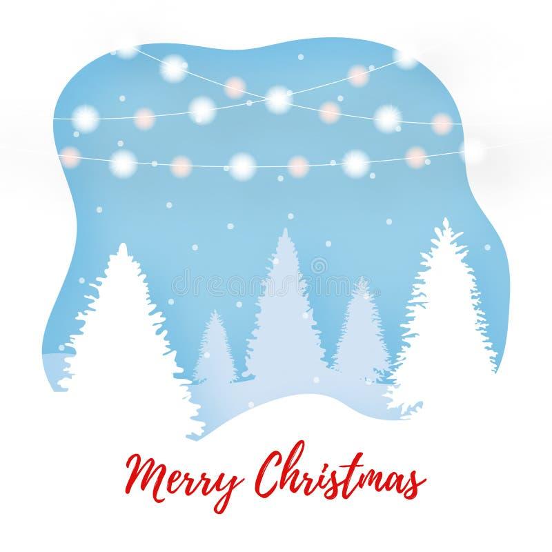 Χειμερινή υπαίθρια σκηνή περικοπών εγγράφου Κείμενο Χαρούμενα Χριστούγεννας τρισδιάστατη απεικόνιση τέχνης εγγράφου   διανυσματική απεικόνιση