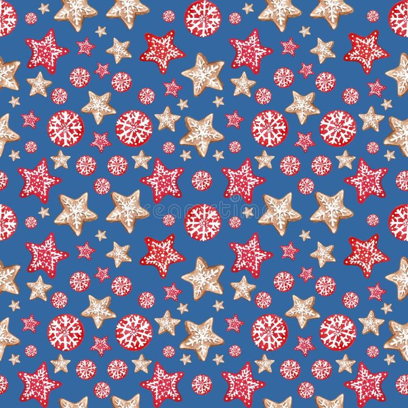 Χειμερινή Χαρούμενα Χριστούγεννα και νέο υπόβαθρο σχεδίων έτους εορταστικό άνευ ραφής με τα αστέρια και snowflakes μπισκότων μελο στοκ φωτογραφία με δικαίωμα ελεύθερης χρήσης