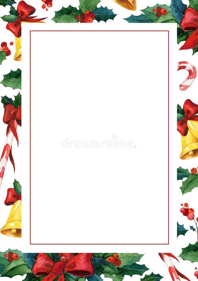 Χειμερινή holyday ευχετήρια κάρτα Πρότυπο καρτών πρόσκλησης Watercolor απεικόνιση αποθεμάτων