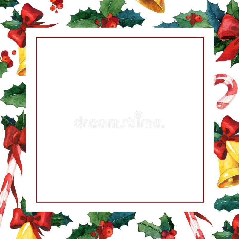 Χειμερινή holyday ευχετήρια κάρτα Πρότυπο καρτών πρόσκλησης Watercolor ελεύθερη απεικόνιση δικαιώματος