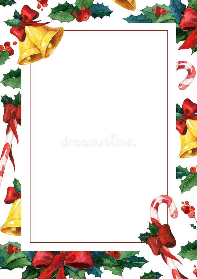 Χειμερινή holyday ευχετήρια κάρτα Πρότυπο καρτών πρόσκλησης Watercolor διανυσματική απεικόνιση