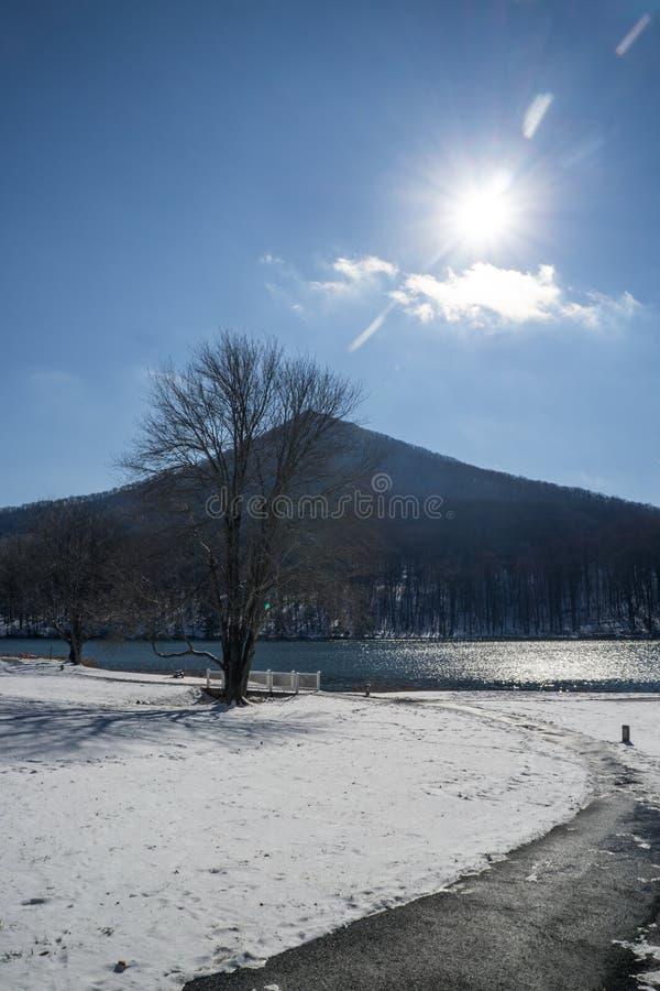 Χειμερινός ήλιος πέρα από το αιχμηρό τοπ βουνό - 2 στοκ φωτογραφία