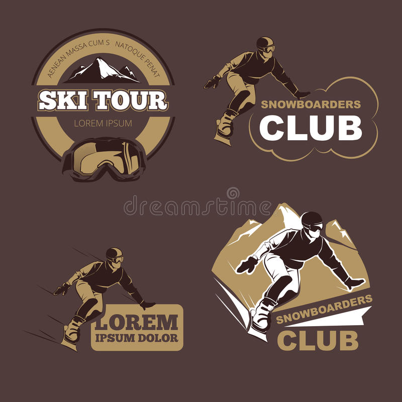 Χειμερινός αθλητισμός, και να κάνει σκι διανυσματικά εμβλήματα λεσχών, ετικέτες, διακριτικά, λογότυπα καθορισμένα ελεύθερη απεικόνιση δικαιώματος