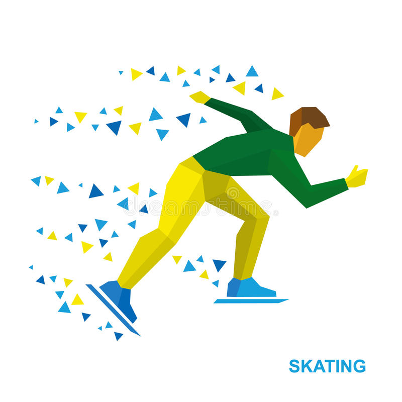 Χειμερινός αθλητισμός - που κάνει πατινάζ Σκέιτερ κινούμενων σχεδίων που τρέχει στο λευκό απεικόνιση αποθεμάτων