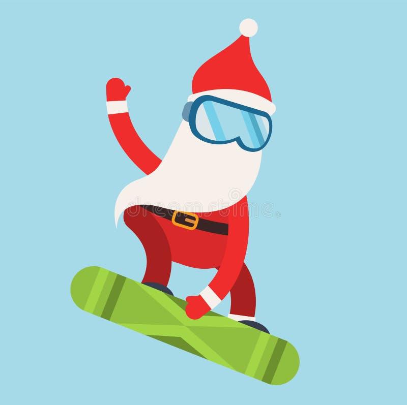 Χειμερινός αθλητισμός Santa κινούμενων σχεδίων ακραίος snowboarder απεικόνιση αποθεμάτων