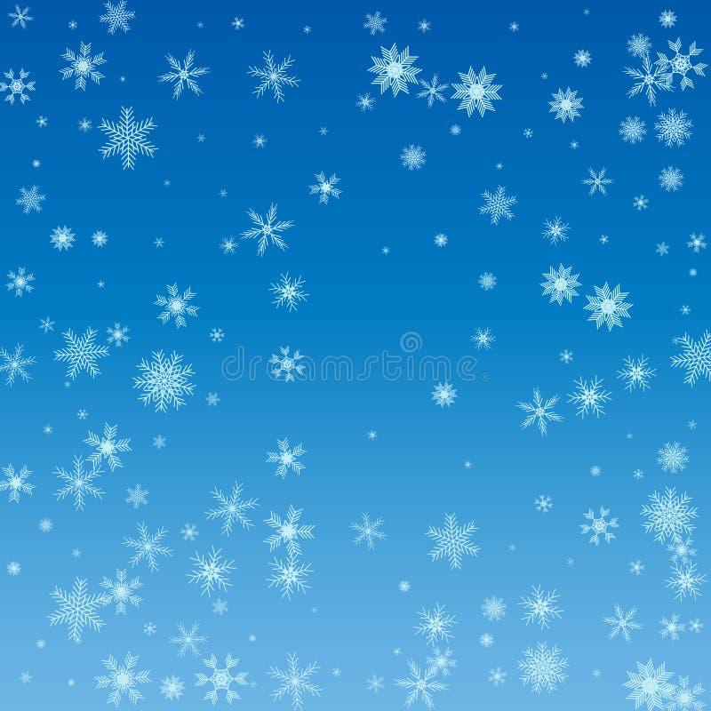 Χειμερινός μπλε ουρανός με το μειωμένο χιόνι, snowflake Χειμερινή ΤΣΕ διακοπών διανυσματική απεικόνιση