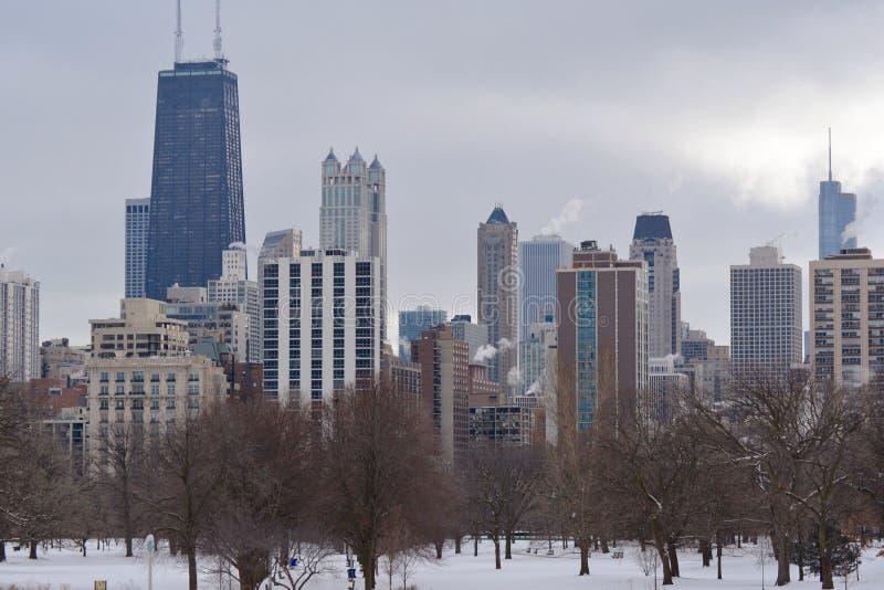 Χειμερινός ορίζοντας του Σικάγου στοκ εικόνα με δικαίωμα ελεύθερης χρήσης