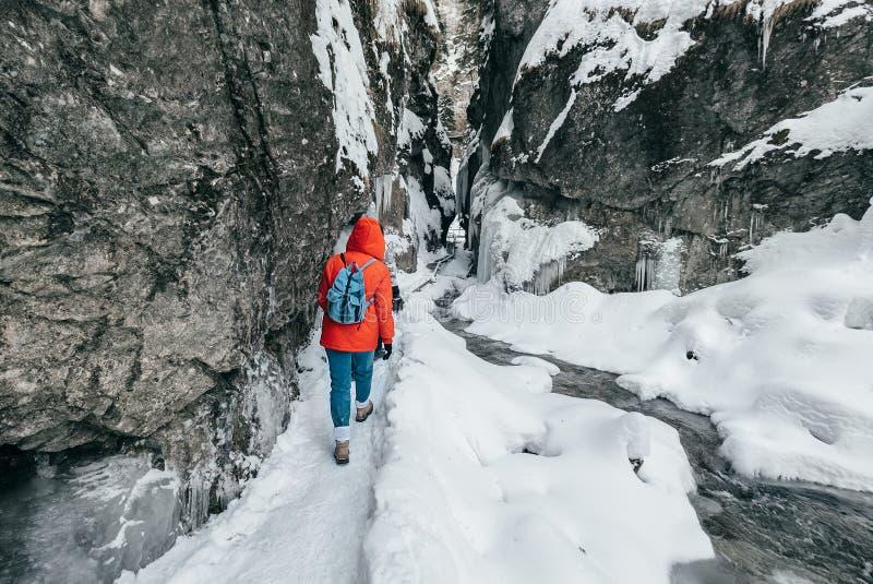 Χειμερινός ταξιδιώτης στο φαράγγι βουνών χιονιού στοκ φωτογραφίες με δικαίωμα ελεύθερης χρήσης